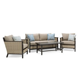 La-Z-Boy Outdoor Colton 4-Piece Wicker Frame Patio Conversation Set with  sc 1 st  Loweu0027s & Patio Furniture Sets at Lowes.com