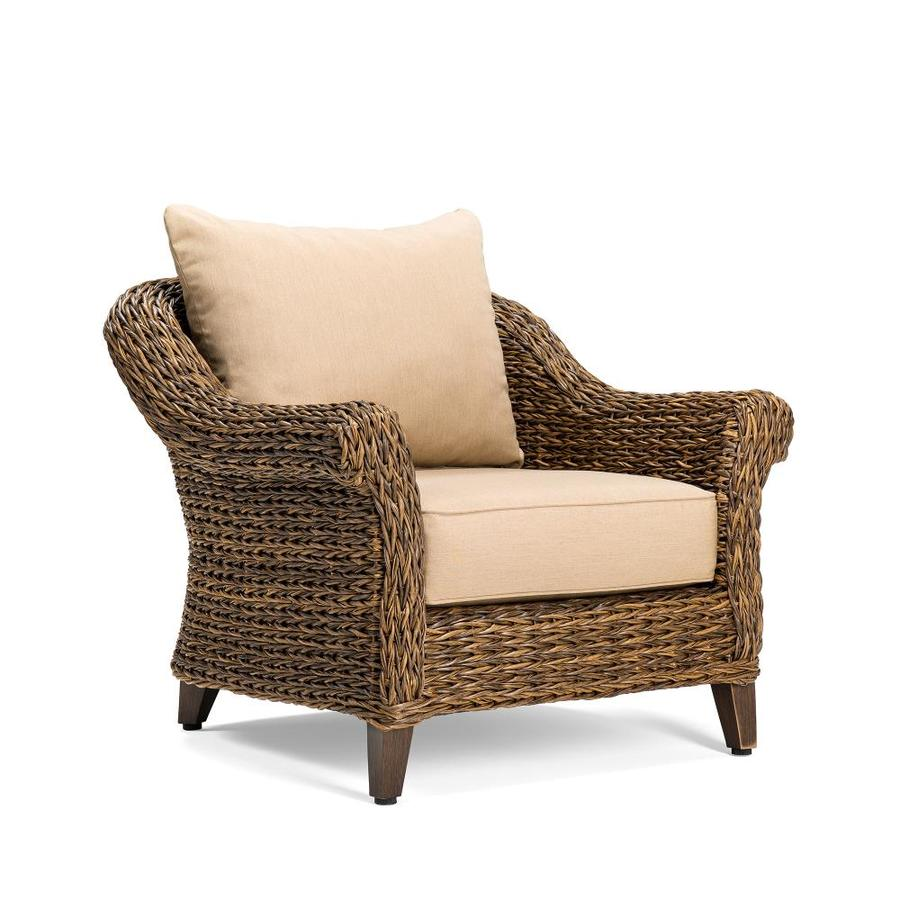 Blue Oak Bahamas Aluminum Conversation Chair With Sunbrella Brown Cushioned  Wicker