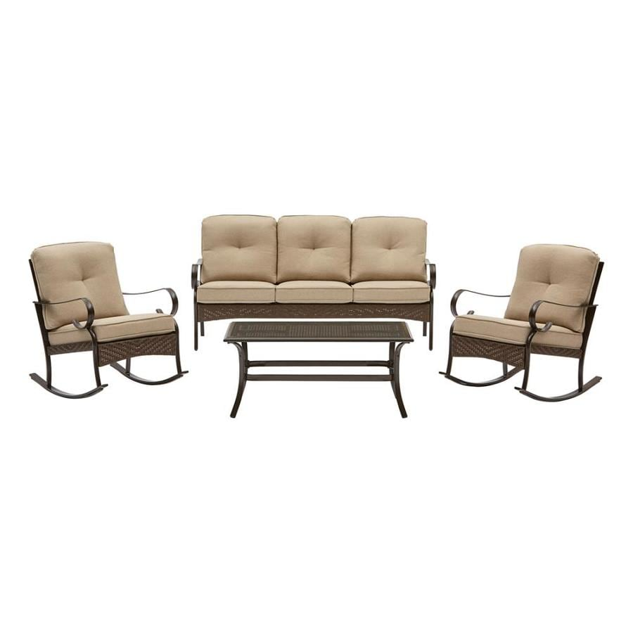 Garden Treasures Arbington 4 Piece Steel Frame Patio Conversation Set With  Tan Cushions