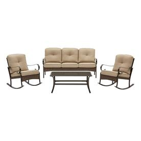 Etonnant Garden Treasures Arbington 4 Piece Steel Frame Patio Conversation Set With  Tan Cushions