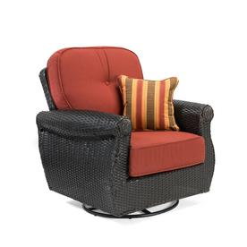 La Z Boy Outdoor Breckenridge Woven Aluminum Swivel Rocking Chair With Meredian Brick Red