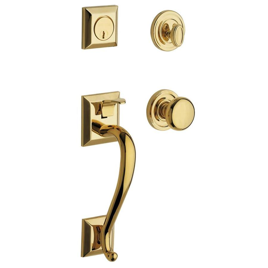 Shop baldwin estate madison x classic knob lifetime polished brass single cylinder deadbolt for Exterior door handle and lock set