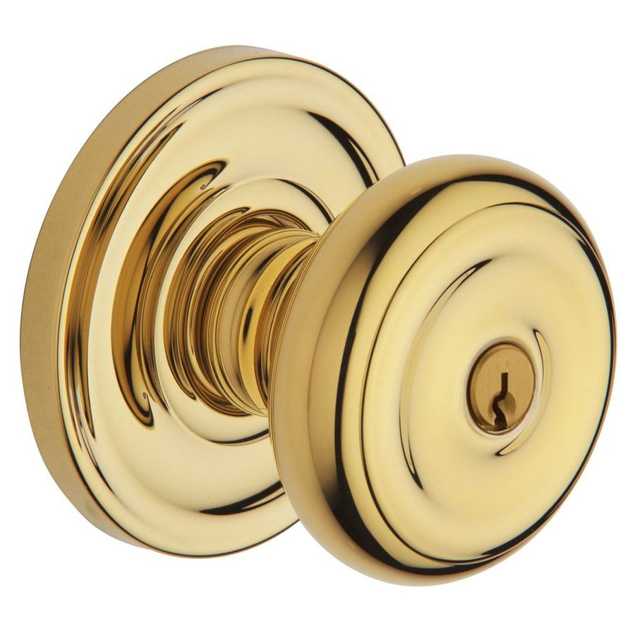Shop BALDWIN Estate Colonial Lifetime Polished Brass Round Keyed Entry Door K