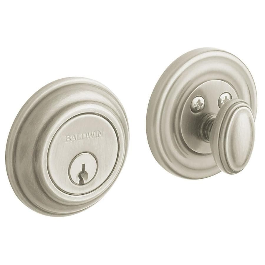 BALDWIN Estate Traditional Satin Brass and Black Single-Cylinder Deadbolt