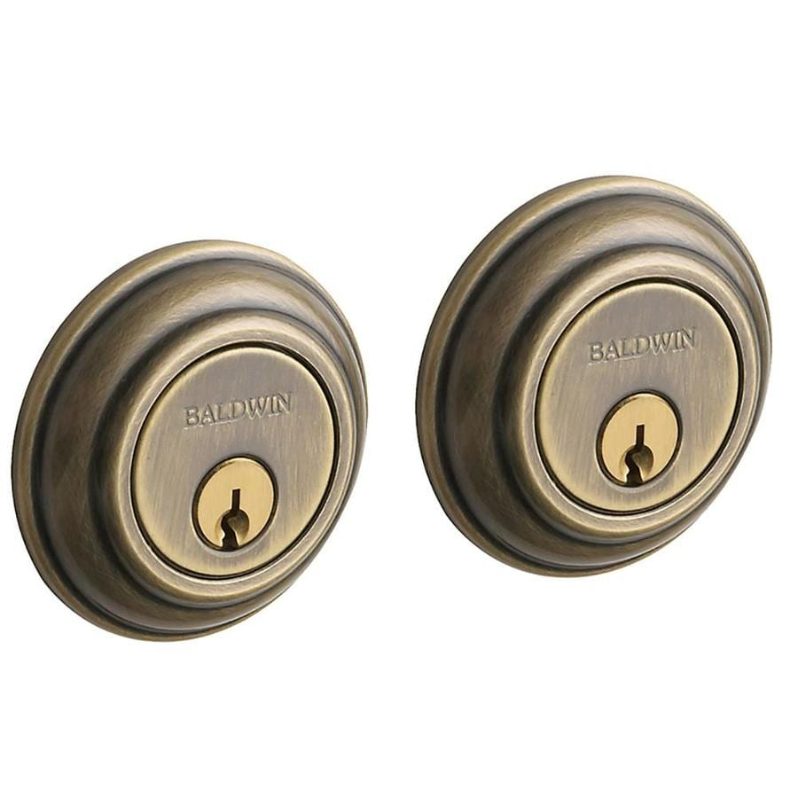 BALDWIN Estate Traditional Satin Brass and Black Double-Cylinder Deadbolt