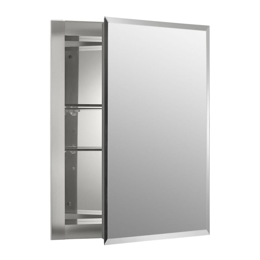 Bathroom medicine cabinets recessed - Kohler 16 In X 20 In Rectangle Recessed Mirrored Aluminum Medicine Cabinet