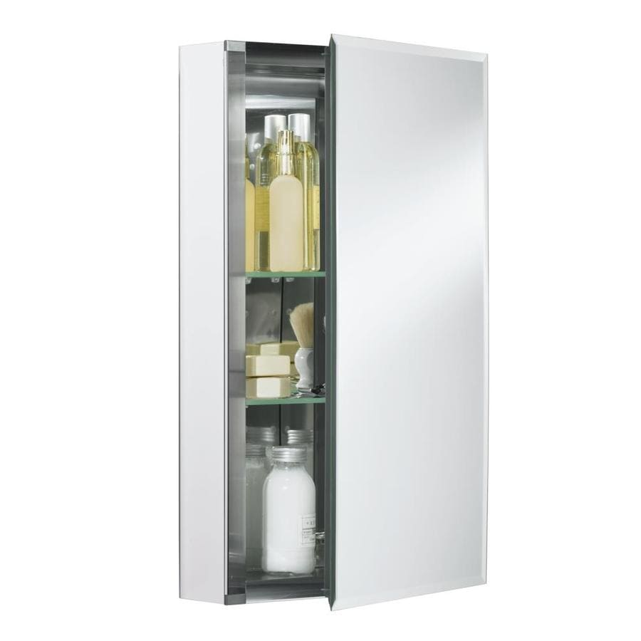 Bathroom medicine cabinets recessed - Kohler 15 In X 26 In Rectangle Surface Recessed Mirrored Aluminum Medicine Cabinet