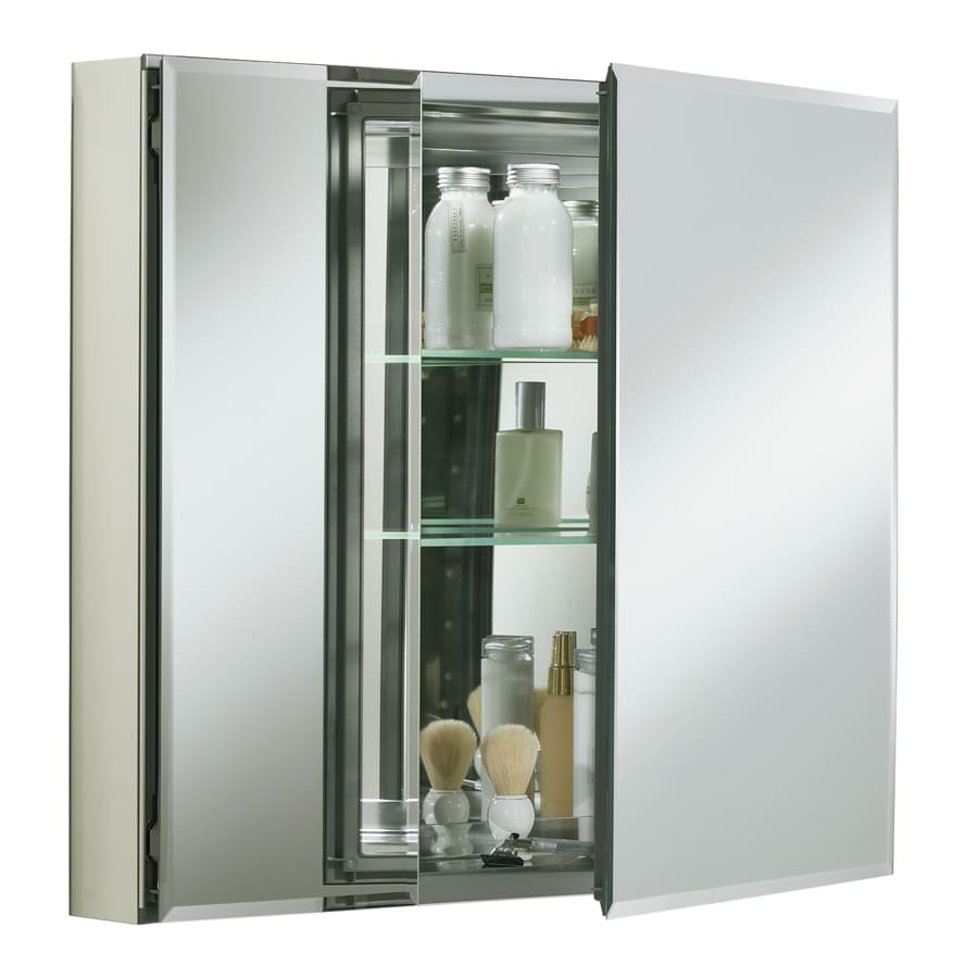 "Kohler® Two Flat Beveled Mirrored Doors with Aluminum Cabinet, 30"" W x 26"" H"