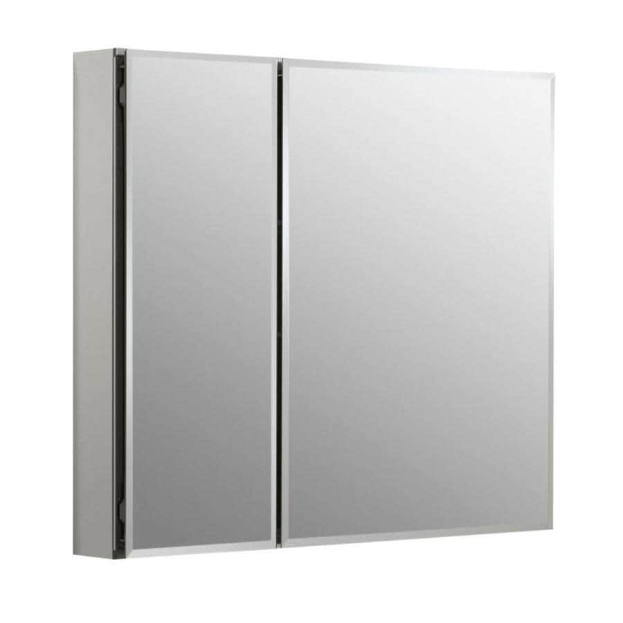 Kohler 30 in x 26 in rectangle recessed aluminum mirrored medicine cabinet