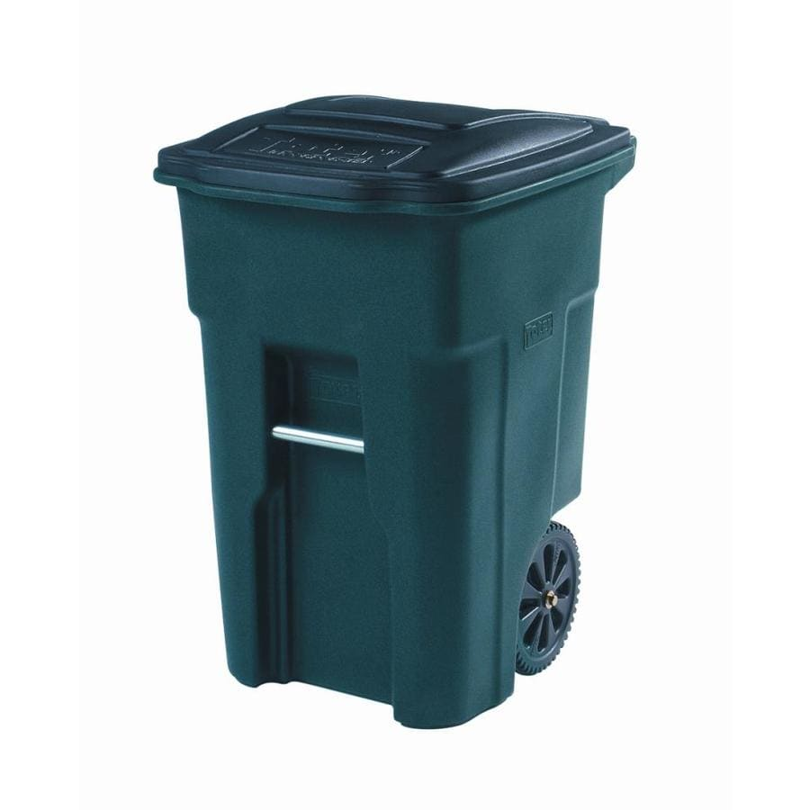 Toter Two Wheel Trash Can 48 Gallon Greenstone Plastic Wheeled With Lid