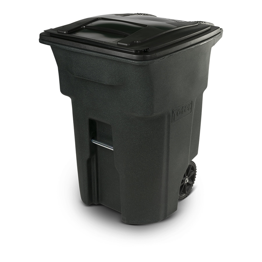 Toter Two-Wheel Trash Can 96-Gallon Greenstone Plastic   Wheeled Trash Can Lid(s) Included