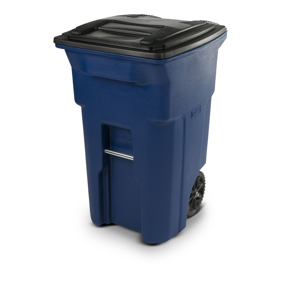 Toter 64-Gallon Blue Plastic Wheeled Trash Can with Lid