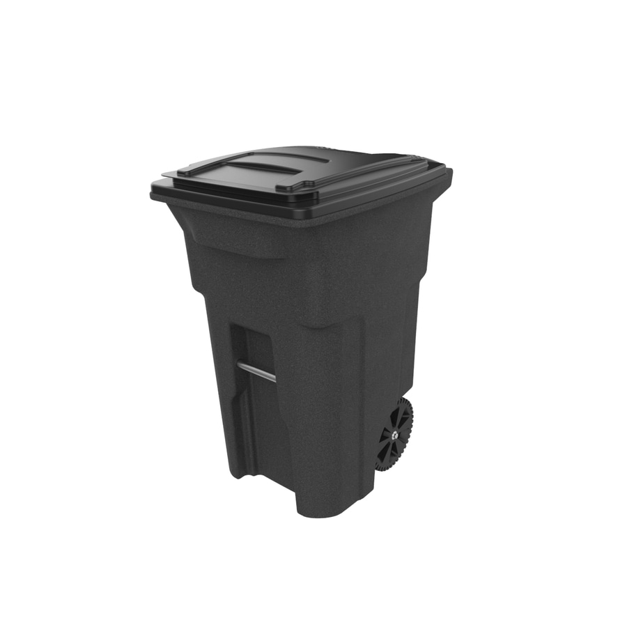 Toter 64-Gallon Blackstone Plastic Wheeled Trash Can with Lid