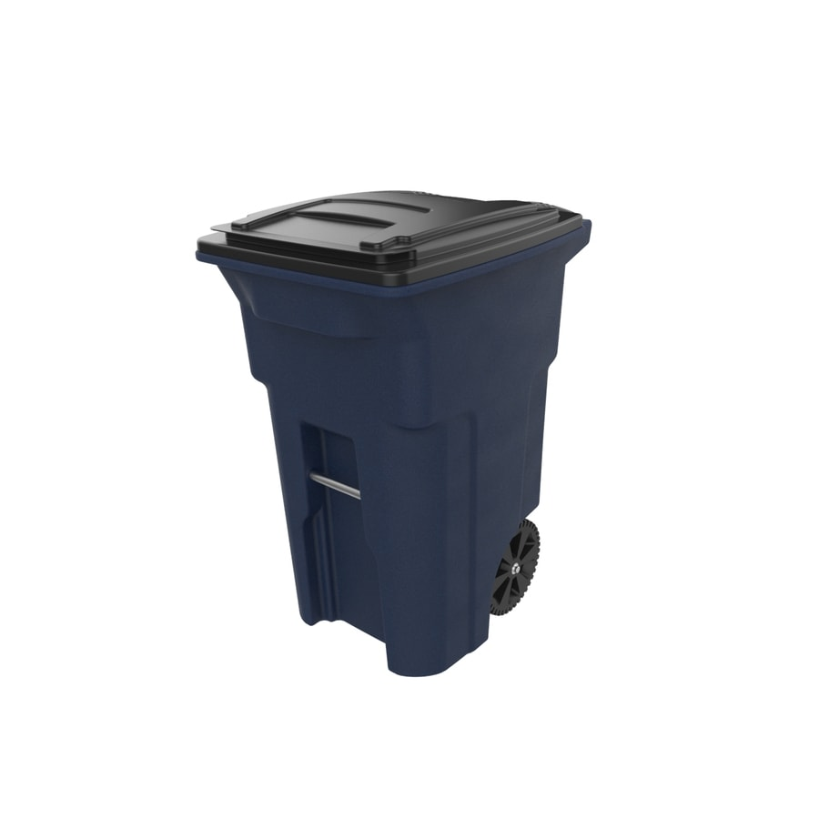 Toter 64 Gallon Navy Blue Granite Plastic Wheeled Trash