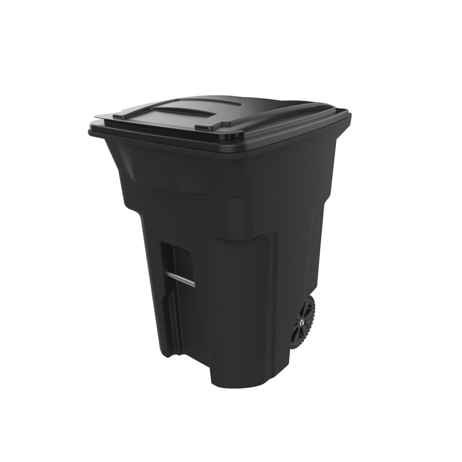 Toter 96-Gallon Black Plastic Wheeled Trash Can with Lid
