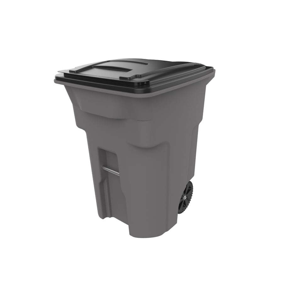 Toter 96-Gallon Standard Gray Plastic Wheeled Trash Can with Lid