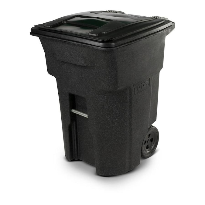 Toter 96 Gallon Blackstone Plastic Wheeled Trash Can With Lid In The Trash Cans Department At Lowes Com