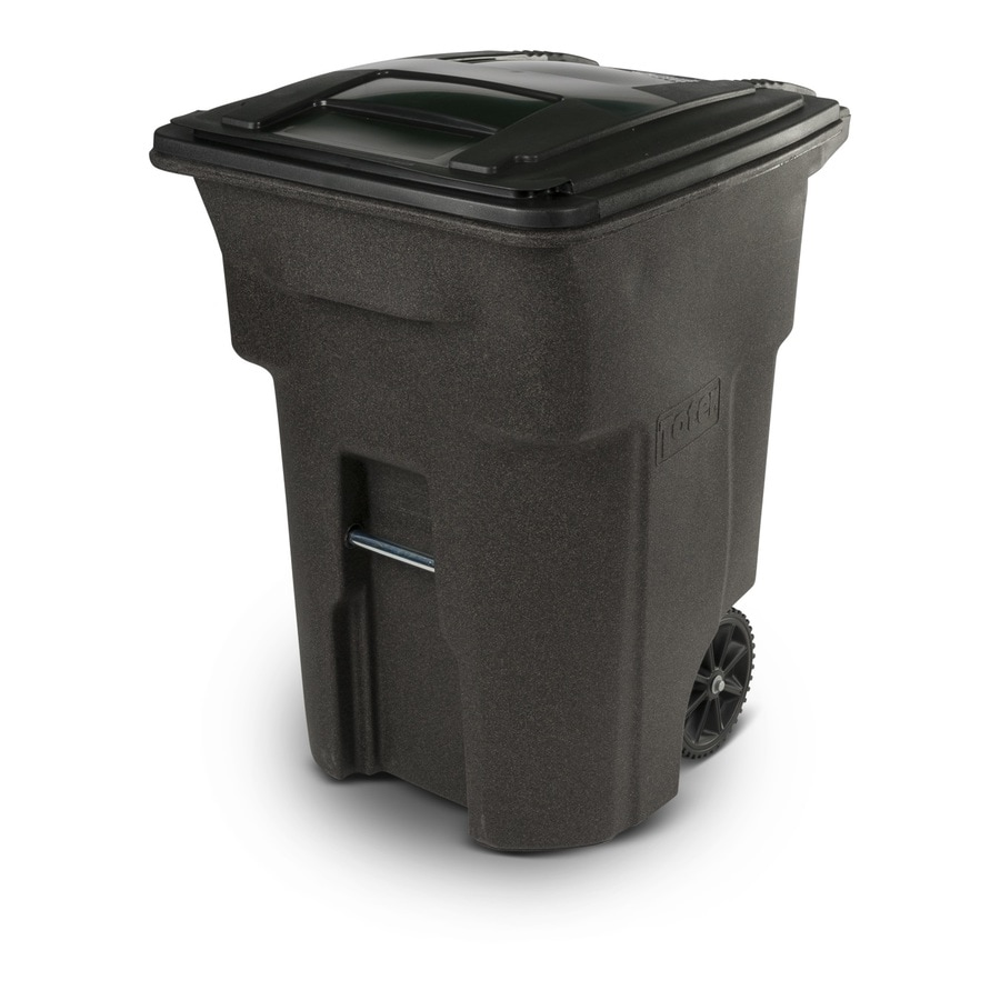 Toter 96-Gallon Brownstone Plastic Wheeled Trash Can with Lid