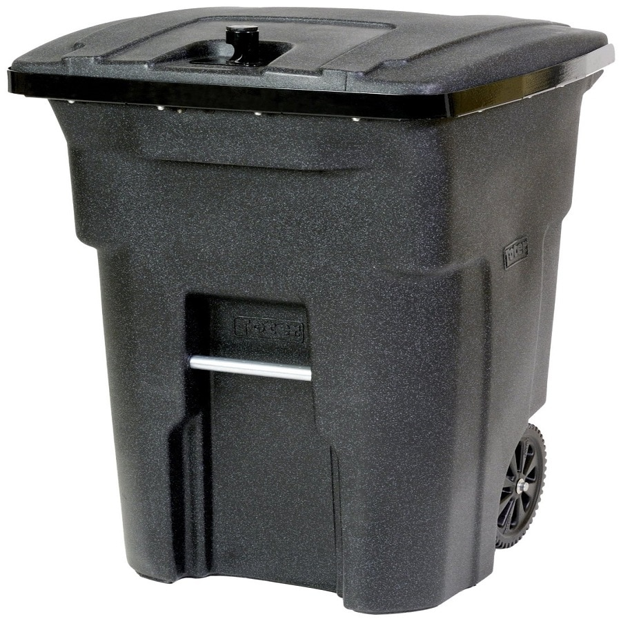 Toter Outdoor Trash Can 64-Gallon Blackstone Plastic  Outdoor Wheeled Trash Can with Lid