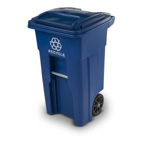 32 Gallon Blue Recycling Bin With Lid