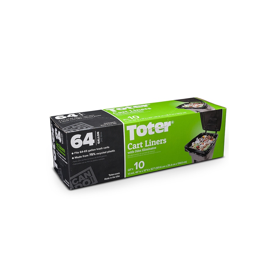 Toter 10 Count 64 Gallon Black Plastic Trash Bags At Lowes Com