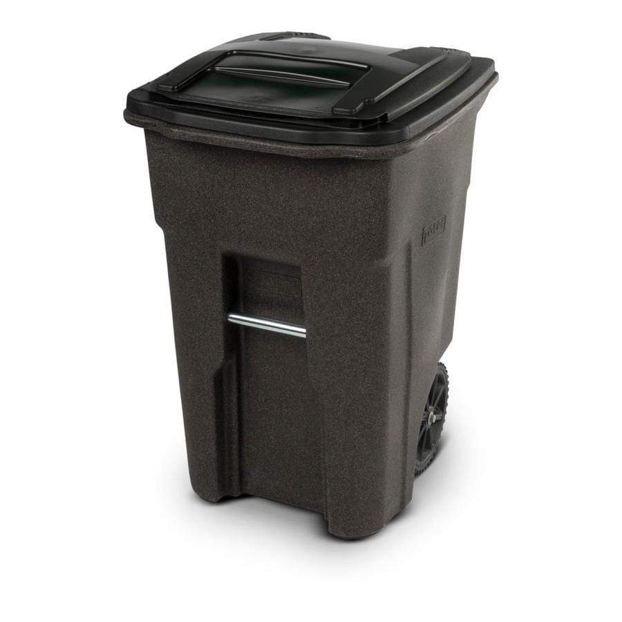 Toter 48-Gallon Brownstone Plastic  Outdoor Wheeled Trash Can with Lid