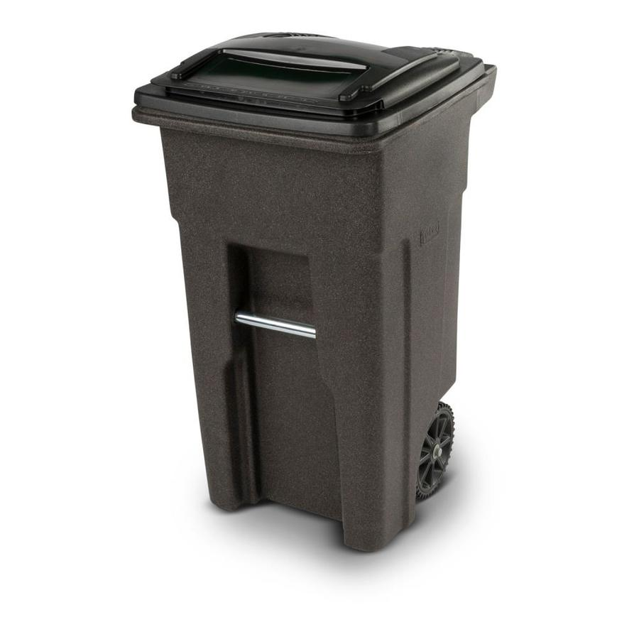 toter 32-gallon brownstone plastic outdoor wheeled trash