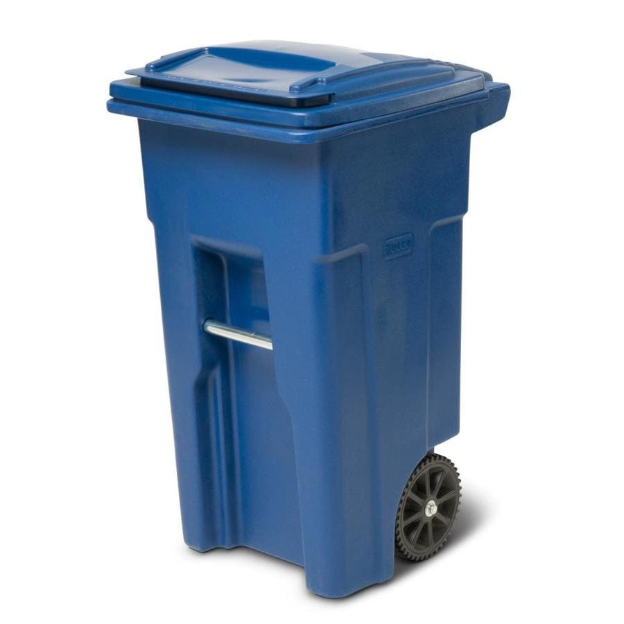 Toter 32-Gallon Blue Plastic  Outdoor Wheeled Trash Can with Lid