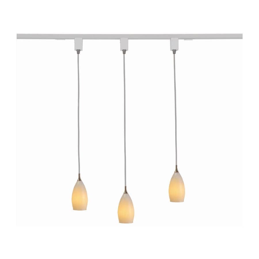 Royal Pacific 3 Light White Gl Shades And Track Pendant Linear Lighting