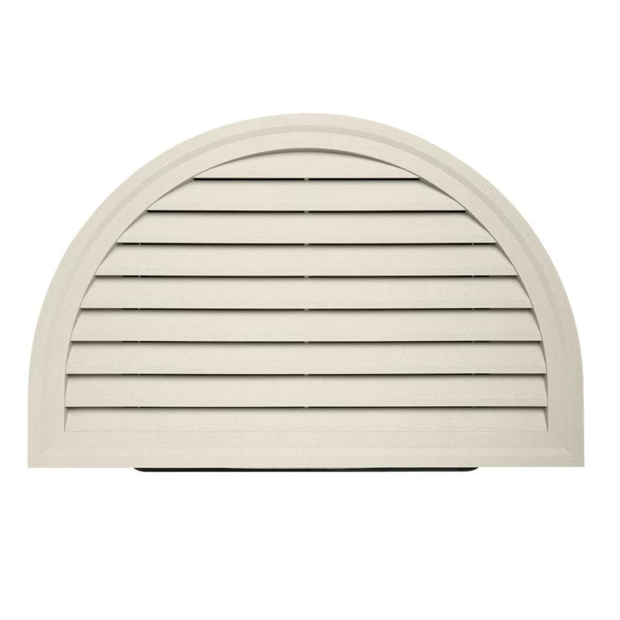 Shop 22 in x 34 in almond half round vinyl gable vent at for Gable decorations home depot