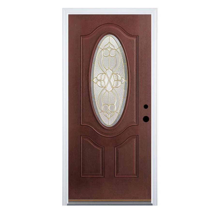 Therma-Tru Benchmark Doors Willowbrook Left-Hand Inswing Dark Mahogany Stained Fiberglass Entry Door with Insulating Core (Common: 36-in x 80-in; Actual: 37.5-in x 81.5-in)