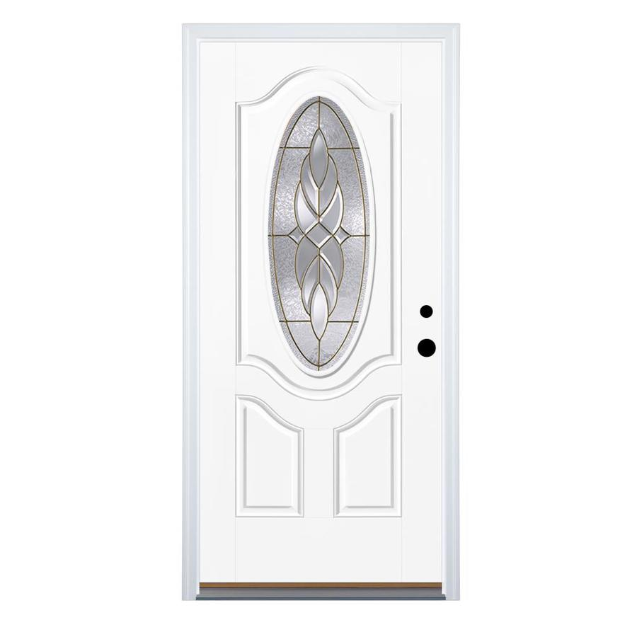 Therma-Tru Benchmark Doors Varissa 2-Panel Insulating Core Oval Lite Left-Hand Inswing Fiberglass Unfinished Prehung Entry Door (Common: 36-in x 80-in; Actual: 37.5-in x 81.5-in)
