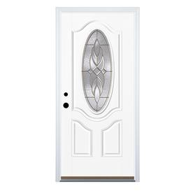 Therma Tru Benchmark Doors Varissa 2 Panel Insulating Core Oval Lite  Fiberglass Unfinished Prehung