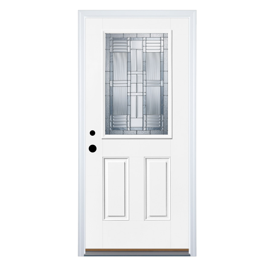 Therma-Tru Benchmark Doors Dunthorpe 2-Panel Insulating Core Half Lite Right-Hand Inswing Fiberglass Unfinished Prehung Entry Door (Common: 36-in x 80-in; Actual: 37.5-in x 81.5-in)