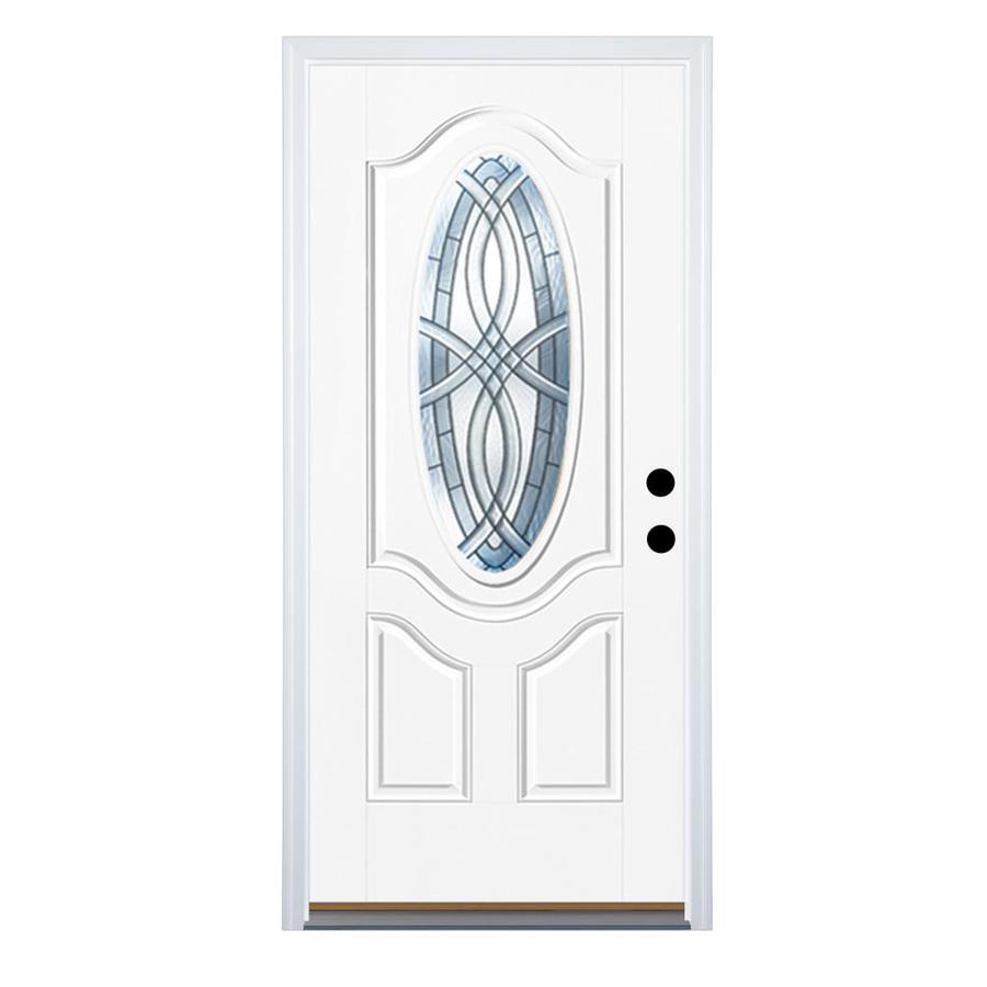 Therma-Tru Benchmark Doors Terracourt 2-Panel Insulating Core Oval Lite Left-Hand Inswing Ready to Paint Fiberglass Prehung Entry Door (Common: 36.0-in x 80.0-in; Actual: 37.5-in x 81.5-in)