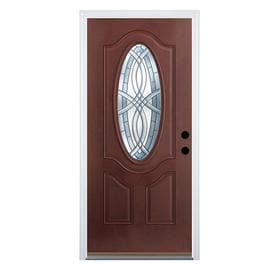 Therma Tru Benchmark Doors Terracourt Dark Mahogany Stained Fiberglass Entry  Door With Insulating Core (