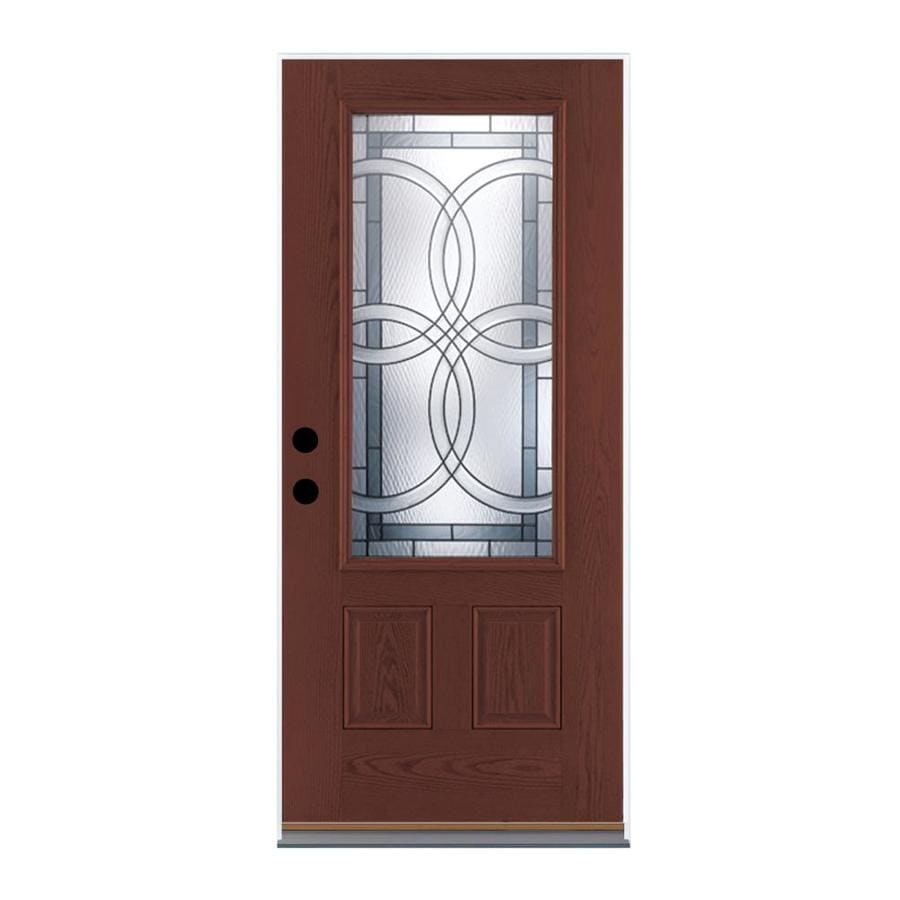 Therma-Tru Benchmark Doors Terracourt Right-Hand Inswing Dark Mahogany Stained Fiberglass Entry Door with Insulating Core (Common: 36-in x 80-in; Actual: 37.5-in x 81.5-in)
