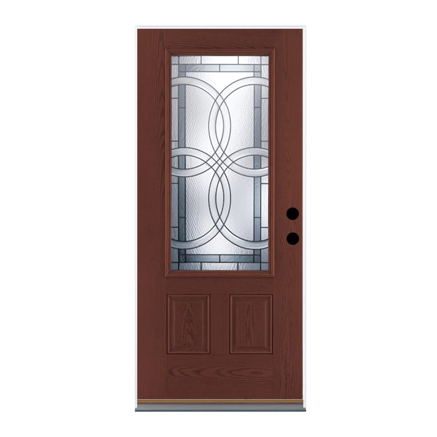 Therma-Tru Benchmark Doors TerraCourt 2-Panel Insulating Core 3/4 Lite Left-Hand Inswing Dark Mahogany Fiberglass Stained Prehung Entry Door (Common: 36-in x 80-in; Actual: 37.5-in x 81.5-in)