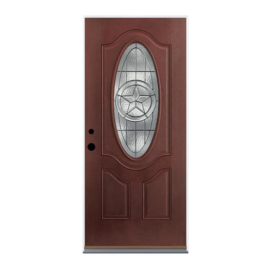 Therma-Tru Benchmark Doors Star Right-Hand Inswing Dark Mahogany Stained Fiberglass Entry Door with Insulating Core (Common: 36-in x 80-in; Actual: 37.5-in x 81.5-in)