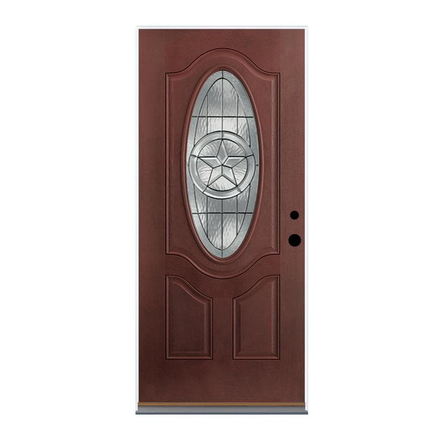Therma-Tru Benchmark Doors Star Left-Hand Inswing Dark Mahogany Stained Fiberglass Entry Door with Insulating Core (Common: 36-in x 80-in; Actual: 37.5-in x 81.5-in)