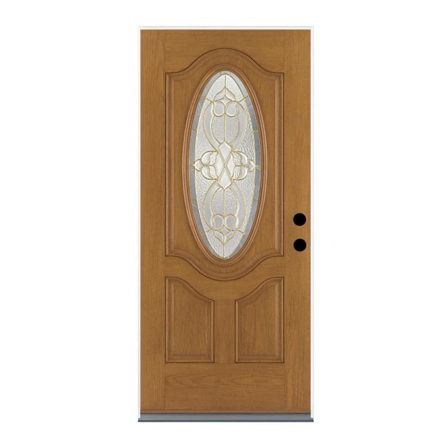 Therma-Tru Benchmark Doors Willowbrook 2-panel Insulating Core Oval Lite Left-Hand Inswing Medium oak Fiberglass Stained Prehung Entry Door (Common: 36-in x 80-in; Actual: 37.5-in x 81.5-in)