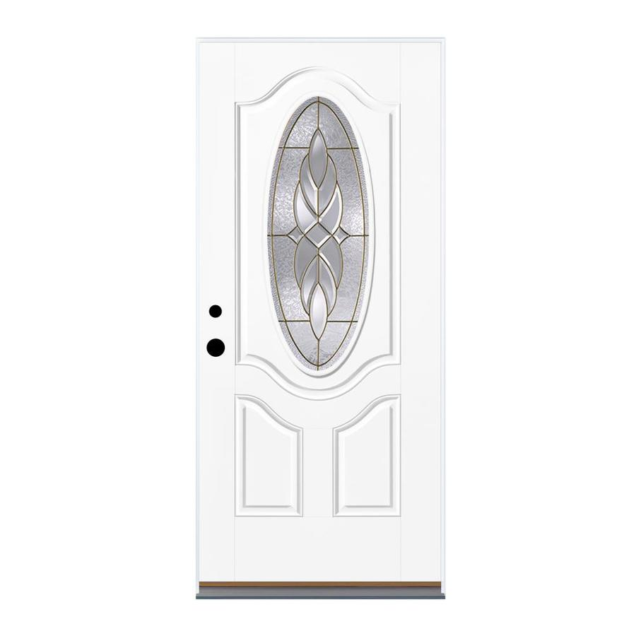 Therma-Tru Benchmark Doors Varissa 2-Panel Insulating Core Oval Lite Right-Hand Inswing Ready to Paint Fiberglass Prehung Entry Door (Common: 36.0-in x 80.0-in; Actual: 37.5-in x 81.5-in)