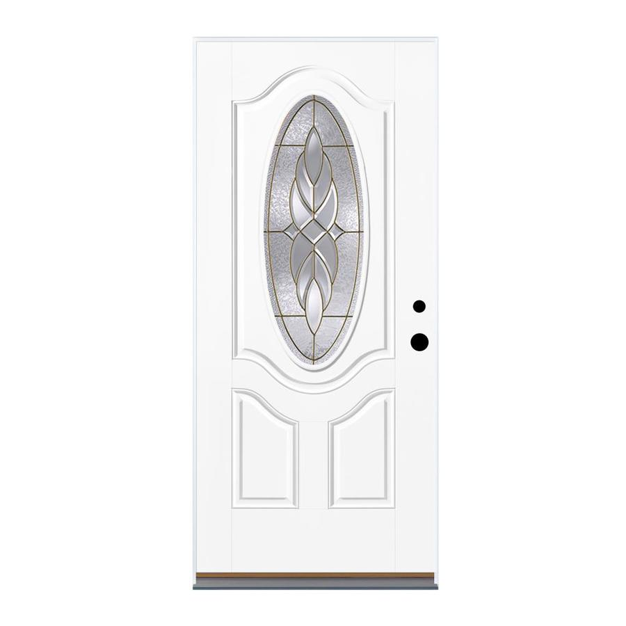 Therma-Tru Benchmark Doors Varissa 2-Panel Insulating Core Oval Lite Left-Hand Inswing Ready to Paint Fiberglass Prehung Entry Door (Common: 36.0-in x 80.0-in; Actual: 37.5-in x 81.5-in)