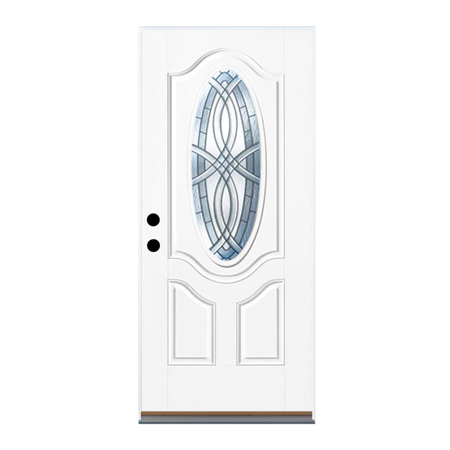 Therma-Tru Benchmark Doors Terracourt 2-panel Insulating Core Oval Lite Right-Hand Inswing Ready to paint Fiberglass Unfinished Prehung Entry Door (Common: 36-in x 80-in; Actual: 37.5-in x 81.5-in)