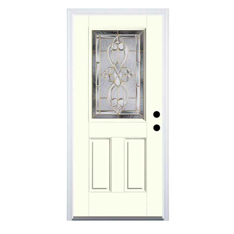 Therma-Tru Benchmark Doors Willowbrook 2-Panel Insulating Core Half Lite Left-Hand Inswing Light Oak Fiberglass Stained Prehung Entry Door (Common: 36-in x 80-in; Actual: 37.5-in x 81.5-in)