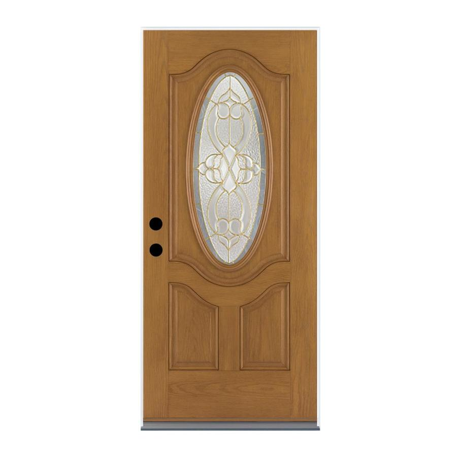 Therma-Tru Benchmark Doors Willowbrook 2-Panel Insulating Core Oval Lite Left-Hand Outswing Medium Oak Fiberglass Stained Prehung Entry Door (Common: 36-in x 80-in; Actual: 37.5-in x 80.5-in)