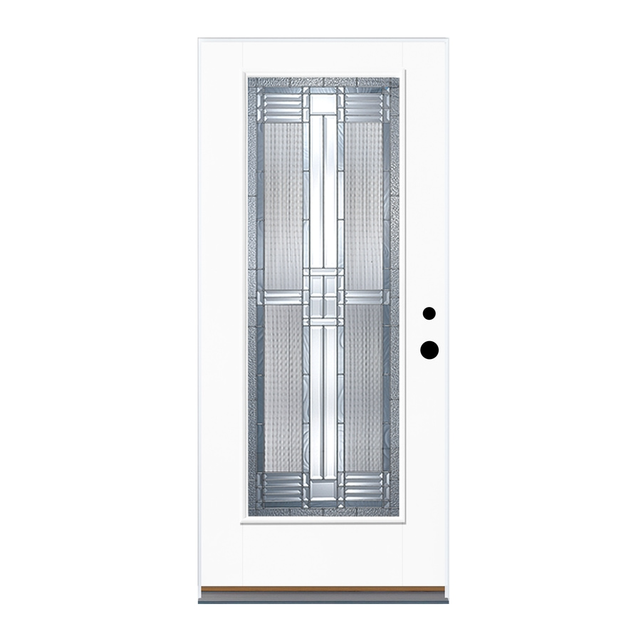 Therma-Tru Benchmark Doors Dunthorpe Flush Insulating Core Full Lite Right-Hand Outswing White Fiberglass Primed Prehung Entry Door (Common: 36-in x 80-in; Actual: 37.5-in x 80.5-in)