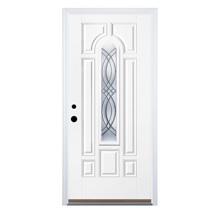 Therma-Tru Benchmark Doors Terracourt 8-Panel Insulating Core Center Arch Lite Right-Hand Inswing Fiberglass Unfinished Prehung Entry Door (Common: 32-in x 80-in; Actual: 33.5-in x 81.5-in)