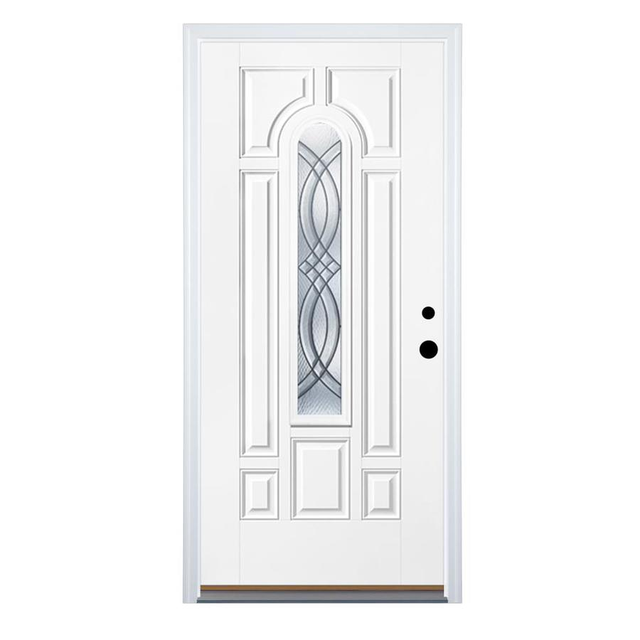 Therma-Tru Benchmark Doors Terracourt 8-Panel Insulating Core Center Arch Lite Left-Hand Inswing Ready to Paint Fiberglass Prehung Entry Door (Common: 32.0-in x 80.0-in; Actual: 33.5-in x 81.5-in)