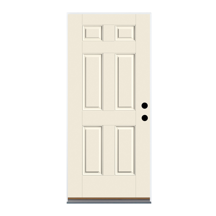 Therma-Tru Benchmark Doors 6-Panel Insulating Core Left-Hand Inswing Ready to Paint Fiberglass Unfinished Prehung Entry Door (Common: 36-in x 80-in; Actual: 37.5-in X